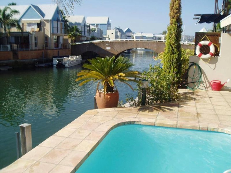 View from the pool of the waterfront canal