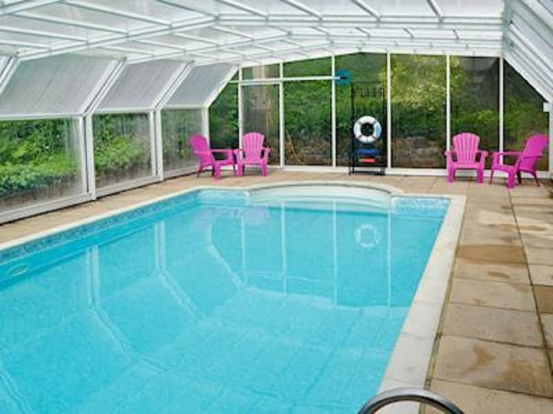 Covered heated swimming pool