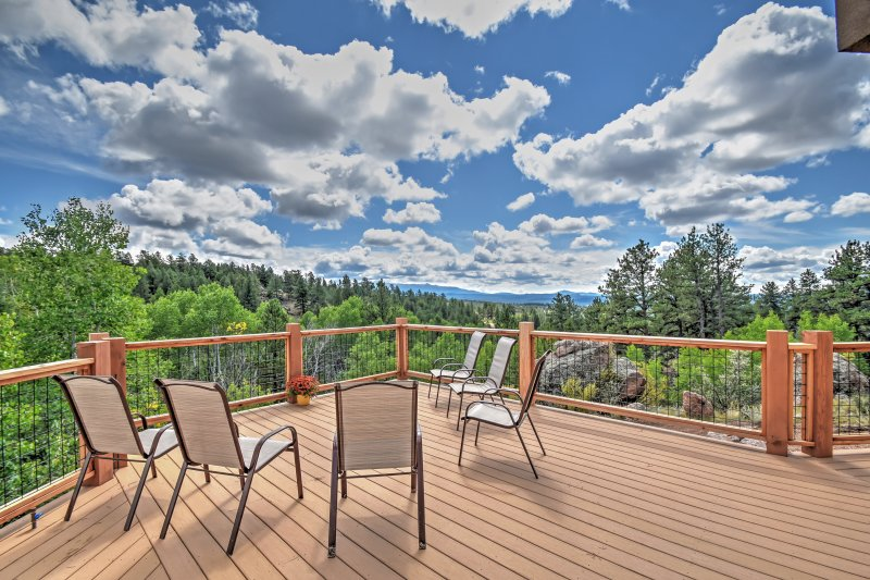 Enjoy unbeatable views of Pikes Peak from the expansive deck.
