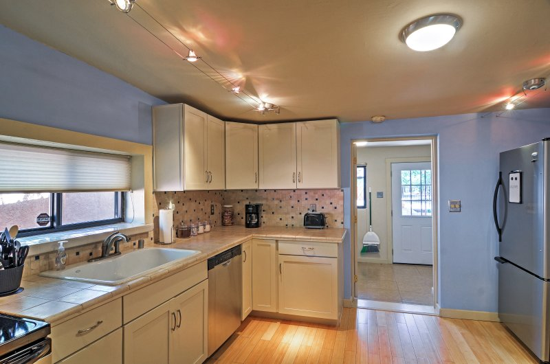 Prepare your favorites with the stainless steel appliances.