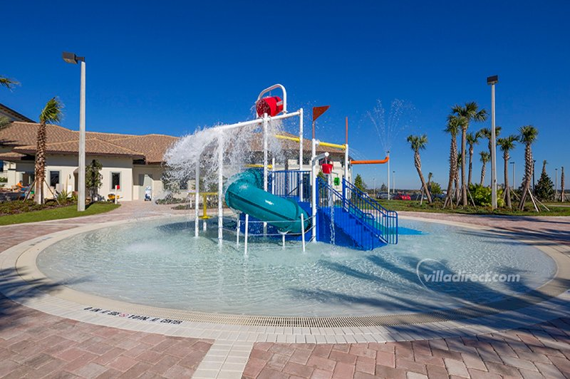 This splash area and water playground has water shoots and water pail dump!