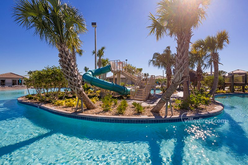 In the middle of the lazy river and lagoon pool is this slide island of fun!