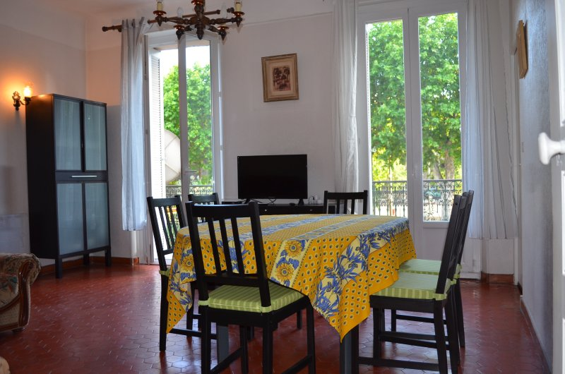 The bright dining room with balcony