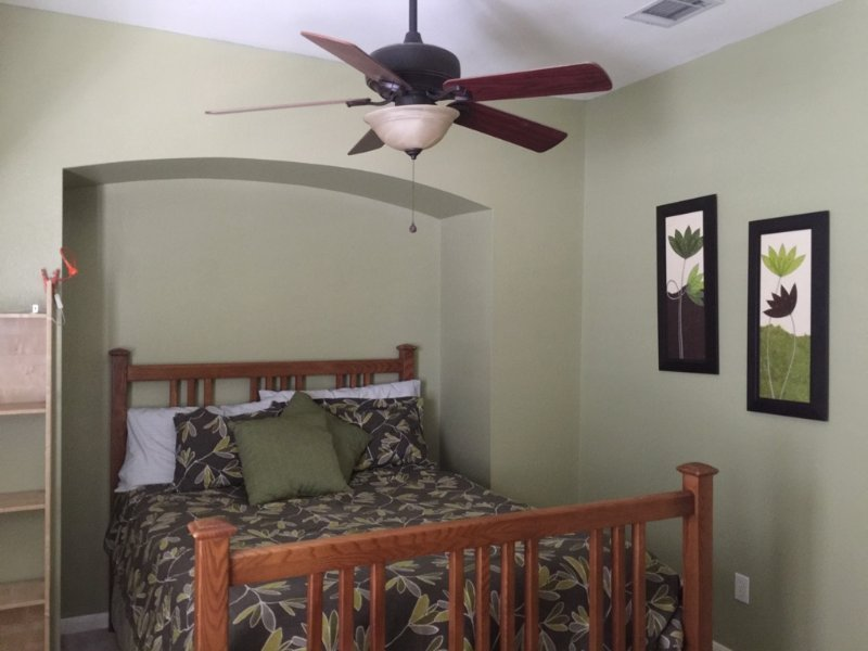 Bedroom with a queen bed, vacation rental in San Marcos
