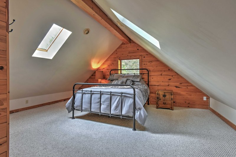 The master bedroom is located in the loft for extra room to spread out.