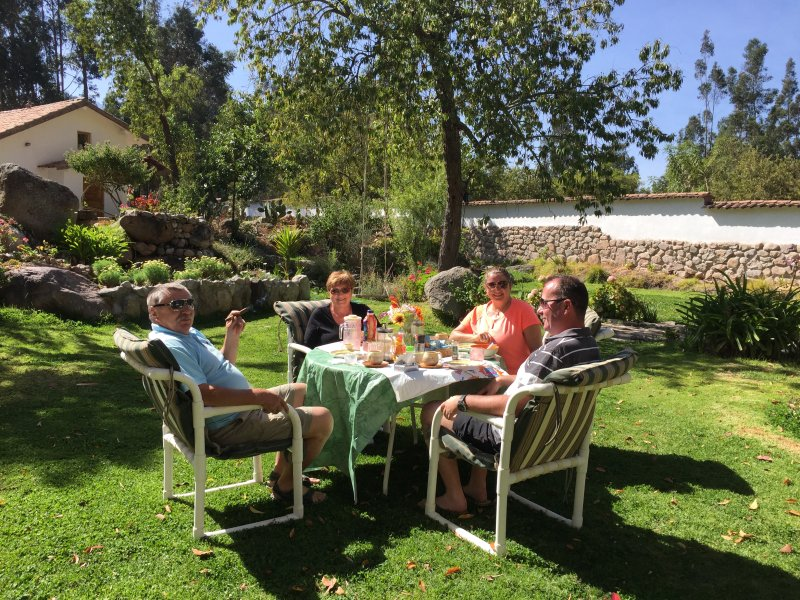 A nice birthday breakfast in the gardens for our guest from UK