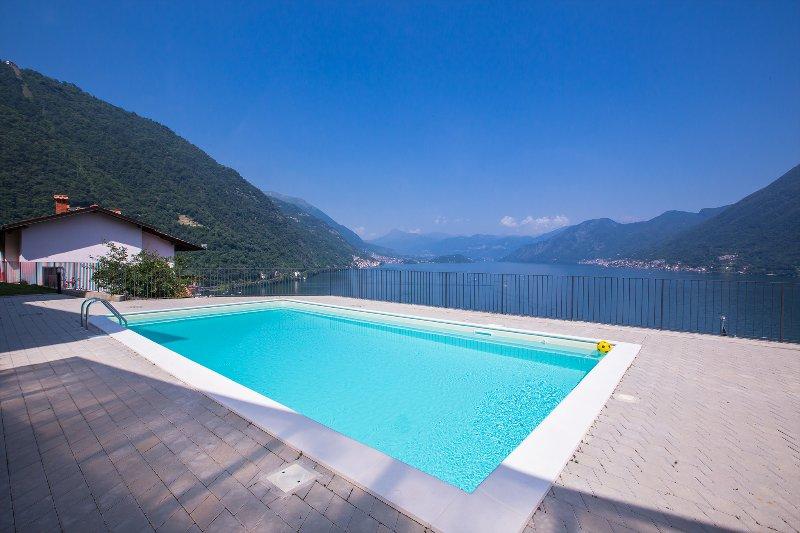 Communal swimming pool with amazing lake view