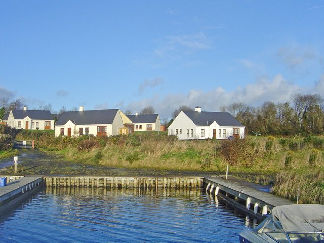 Properties from the jetty on Lough Erne
