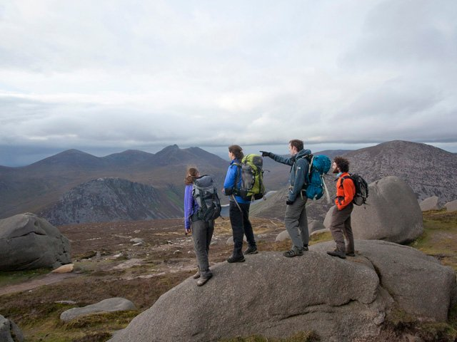 Walkers on the Mourne Mountains