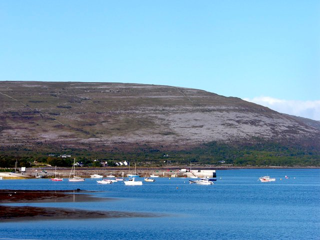 Ballyvaughan harbour from the property with Cappanwalla hill of the Burren in the background