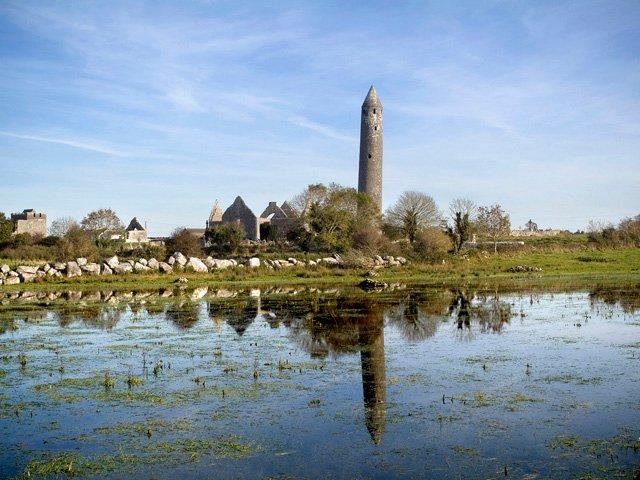 Kilmacduagh monastery and round tower