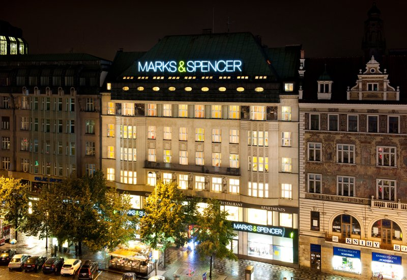 Wenceslas Square with Marks and Spencer building where is the apartment.
