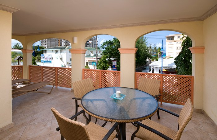 The large patio overlooking the Dover neighborhood with ocean views. You are just a minutes stroll to the beach!