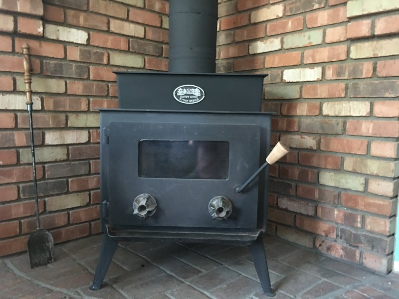 wood-burning stove in the Ponderosa Cottage