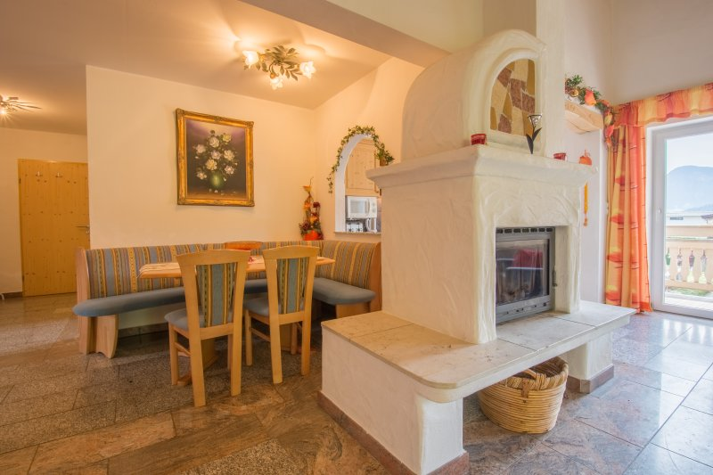 Dining area and wood burning fire place