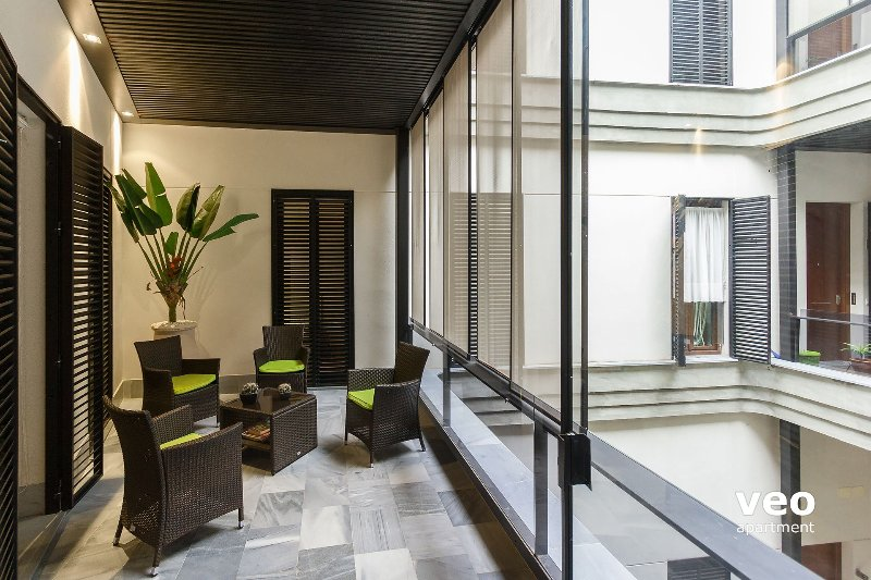 This two-bedroom apartment features a private covered balcony.
