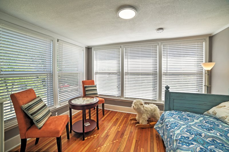 Let the sun be your alarm as it shines through the windows of the sunroom, waking you up to a new day.