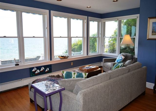 Sitting area with view of Pebble Beach.