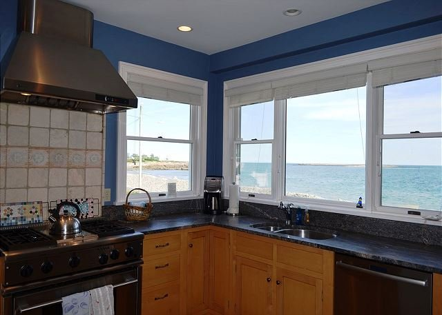 Chef's kitchen with view of Pebble Beach.