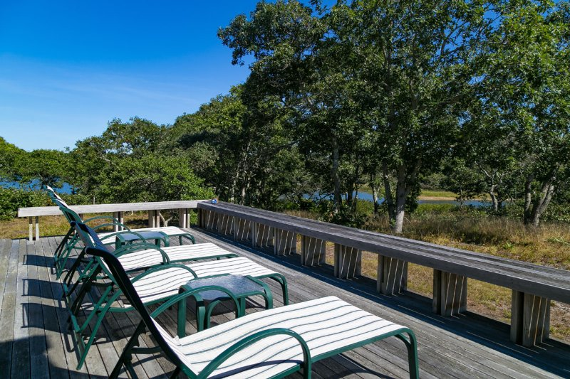 Deck with Dappled Views of the Great Pond