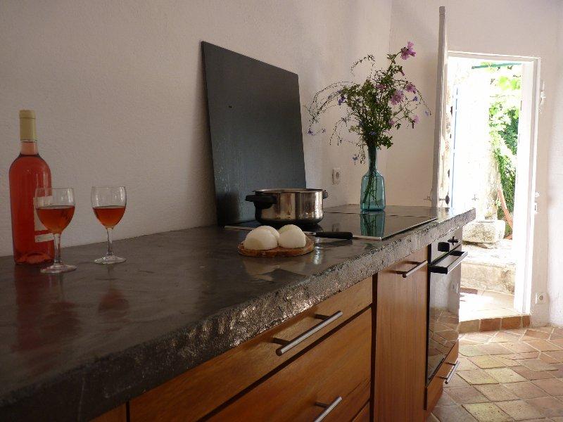 Furniture wood Personal macif (badi) and concrete floor