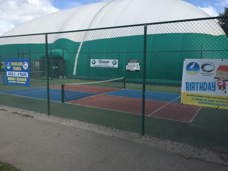 Heron Tennis club  ....   at Trenance Gardens  They have indoor courts  + mini courts for toddlers