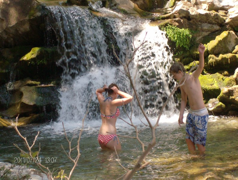 Cooling off... after a good morning's trek at Dimosaris gorge