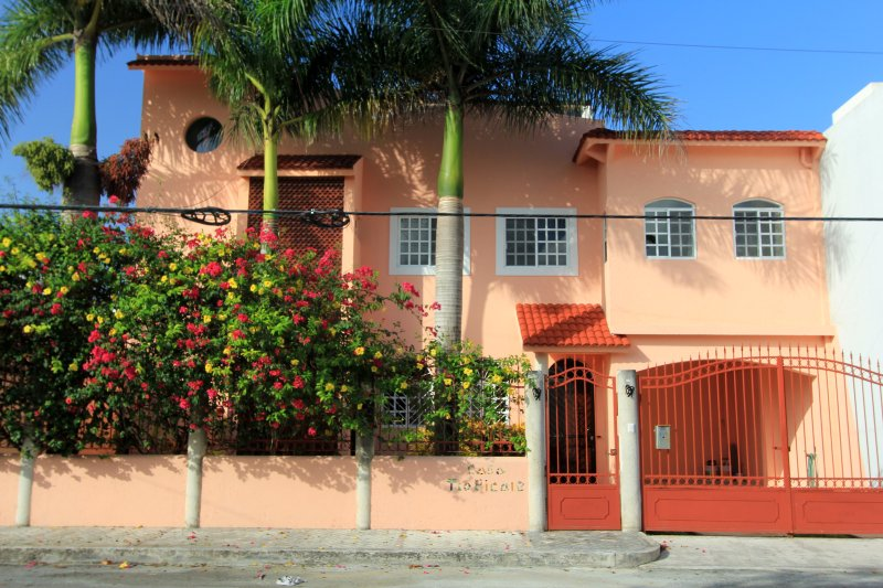 Casa Tropicale - Uw Cozumel huis, Downtown, tuin en prive zwembad. Ruim, Roof Top Palapa