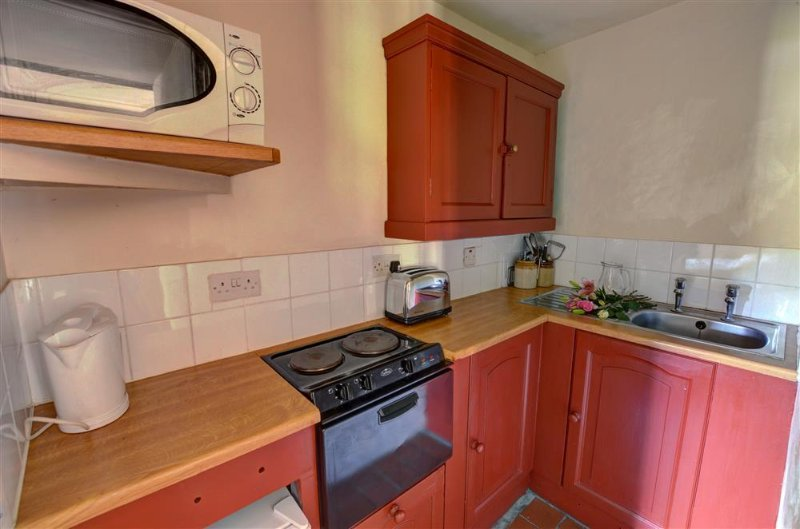 The tiny kitchen has fitted cupboards and small appliances