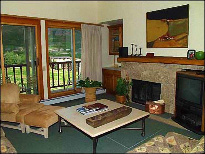Salon décoré avec goût avec foyer au bois