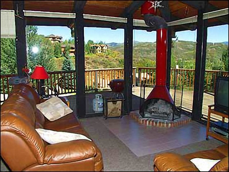 Family room with gas fireplace and views!