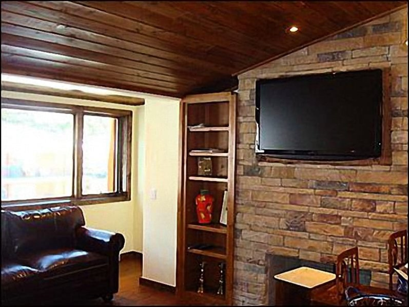 Living Room with Fireplace and Large Screen TV