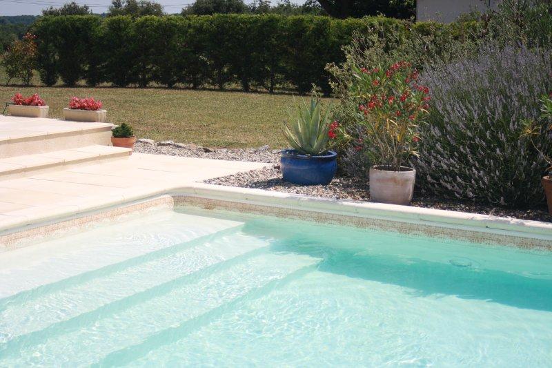 Bouye - piscina e vista giardino vicino gite