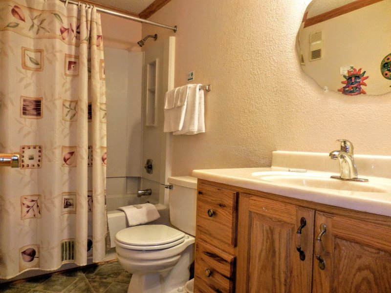 Enlarged bathroom provides for more room and comfort