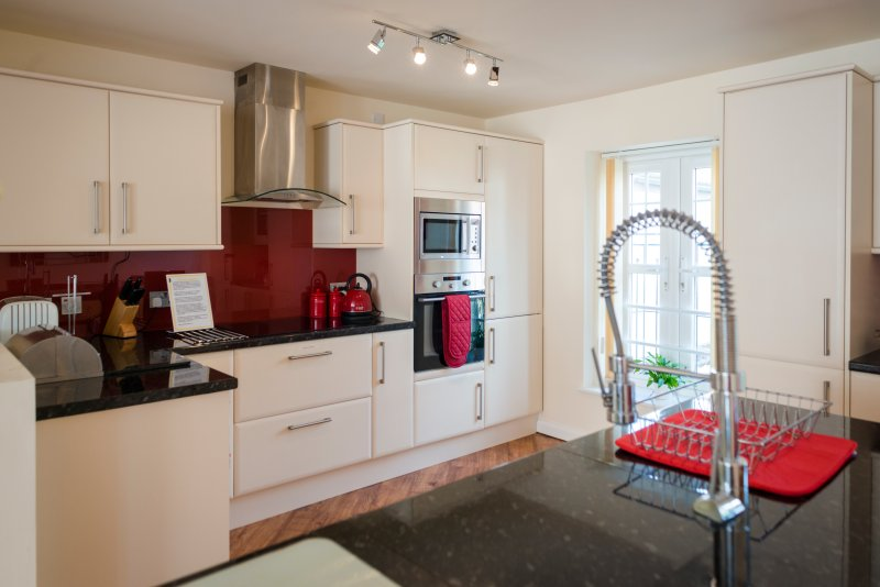 Kitchen with integral fridge freezer/dishwasher/coffee machine/microwave