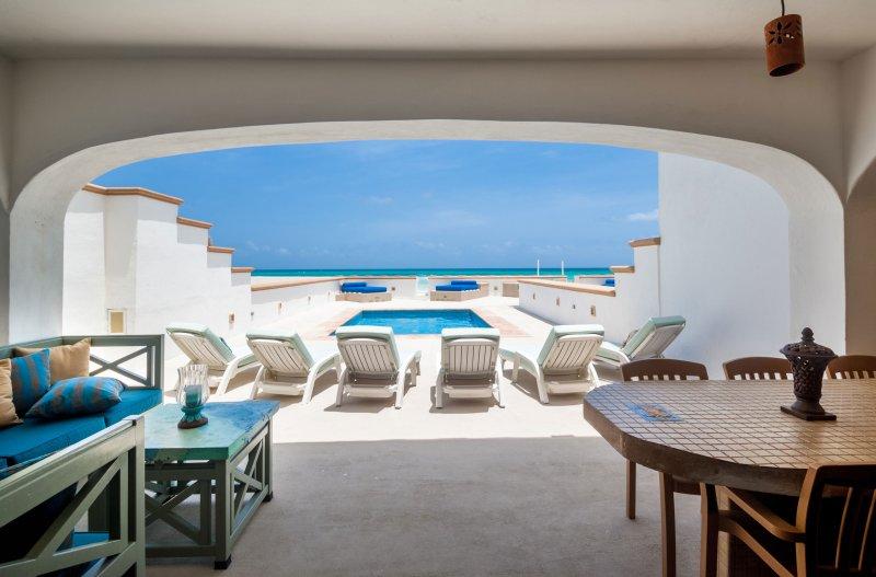 muur tot muur en van vloer tot plafond schuifdeuren - dus zelfs vanuit de keuken heb je dit uitzicht!