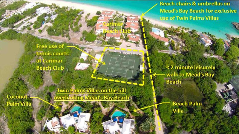 Free tennis at Carimar Beach Club. Meads Bay Beach is a two-minute leisurely walk away.
