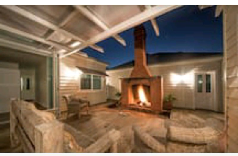 Fireplace on side deck