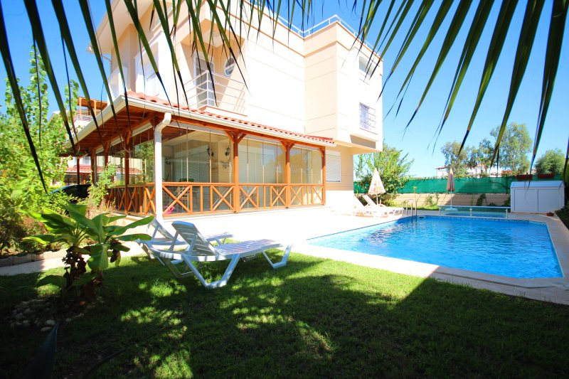 Pool deck and veranda in the sun.