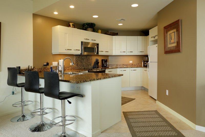 Vollständige Gourmet-Küche mit allen Geräten und Geschirr für Mahlzeiten mit der Familie, Vorbereitungs- und unterhaltsam,