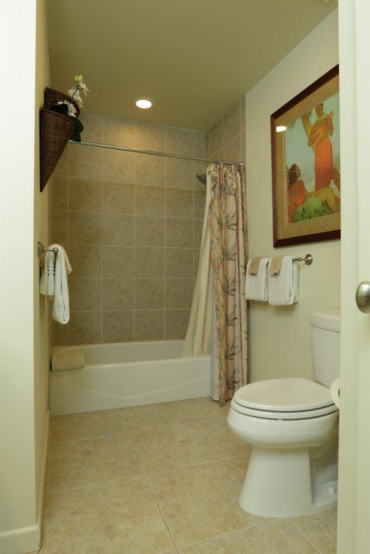 Zweite voll Bad im Obergeschoss neben Gast und Zweibettzimmer sowie ein WC im Erdgeschoss.