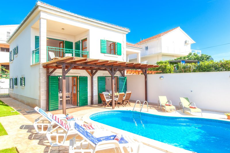 Front view, villa with swimming pool, Villa Cvita, Hvar, Island Hvar