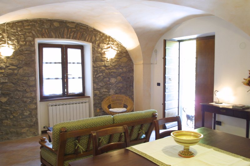 The living features vaulted ceiling and exposed stone walls