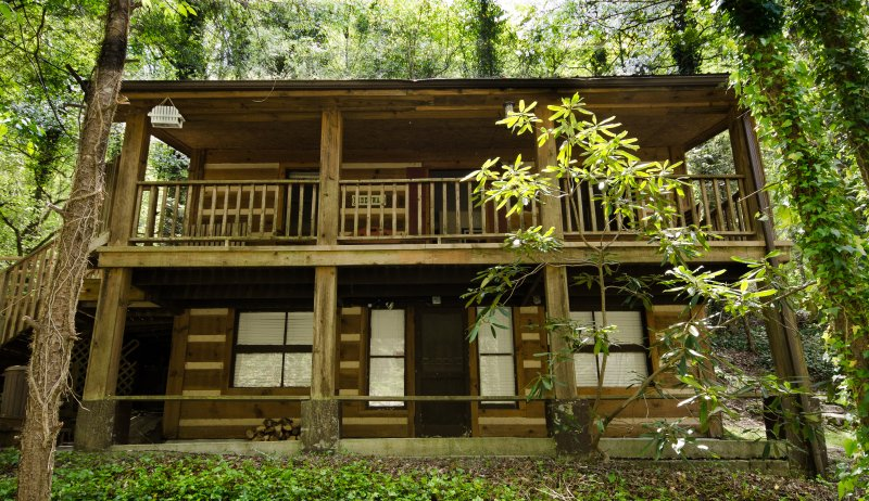 Hideaway is nestled in the woods with mature trees and mountain laurel.