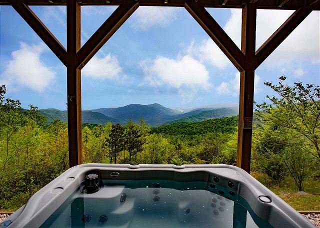 Mountain view from the hot tub