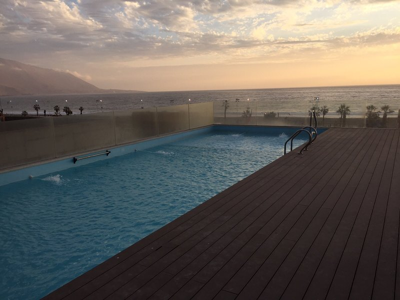 Outdoor pool overlooking the sea.