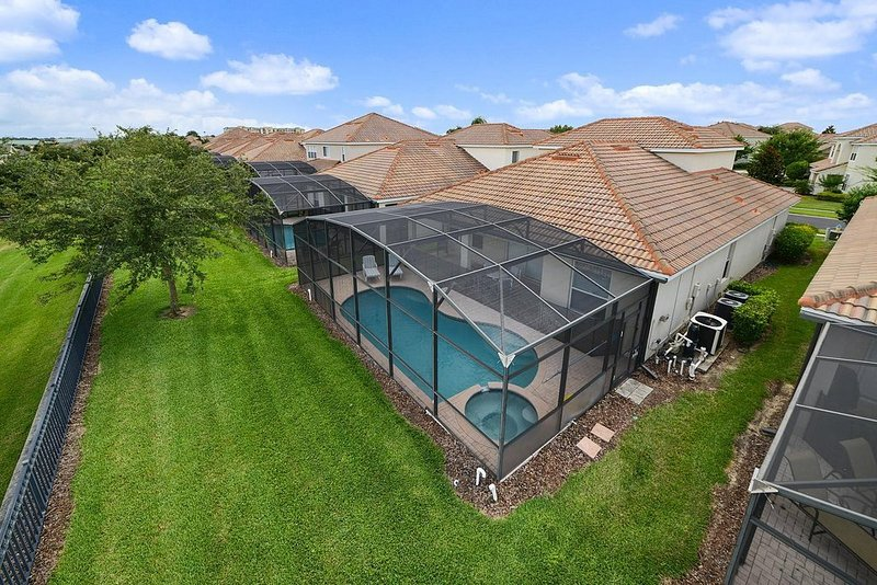 ARIEL VIEW OF POOL AND BACK YARD