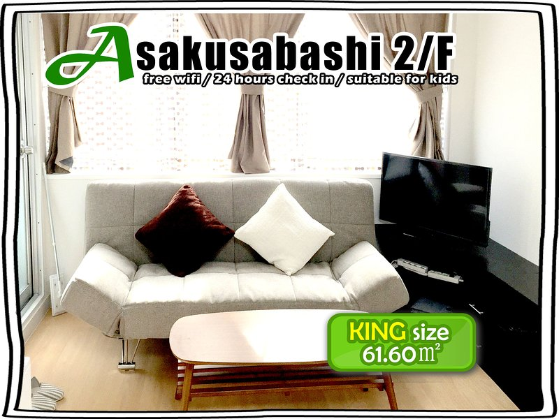 2nd floor 2 bedrooms 2 double beds 2 single beds 2 bathrooms 2 toilets Asakusabashi Station 5 minute
