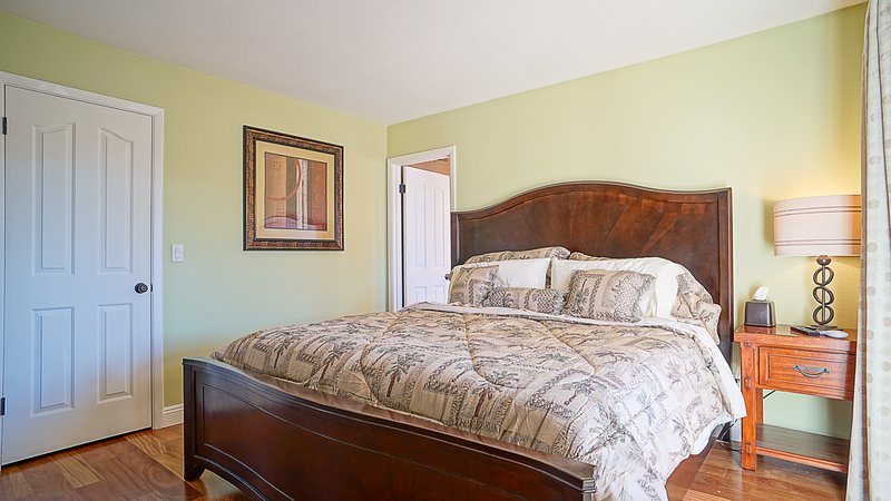 Master Bedroom Exotic Brazilian Hardwood floors. King bed with very high quality mattress