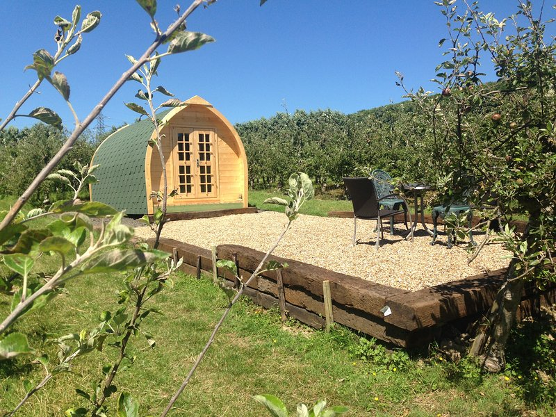Our Pod Cabins are warm all year and sleep 4 people in 2 double beds.  Glamping incl homely comforts